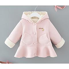 billige Overtøj til babyer-Baby Pige Basale Daglig Ensfarvet Langærmet Normal Bomuld / Polyester Jakke og frakke Blå 100