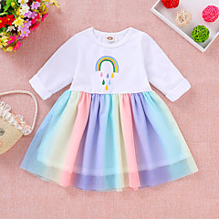 cheap Girls' Dresses-Toddler Girls' Active / Sweet Daily / Going out Cartoon Long Sleeve Cotton / Polyester Dress White