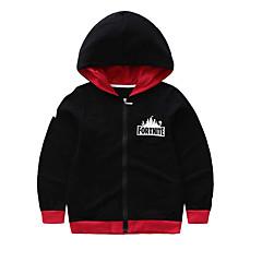 billige Hættetrøjer og sweatshirts til drenge-Børn Drenge Gade Ensfarvet Langærmet Polyester Hættetrøje og sweatshirt Sort 140