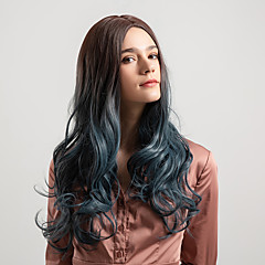 cheap Wigs & Hair Pieces-Synthetic Wig Women's Deep Wave Ombre Middle Part 130% Density Synthetic Hair 22 inch Smooth / New Arrival / Ombre Hair Ombre Wig Mid Length Capless Black / Smoke Blue Black / Dark Green Ombre Color