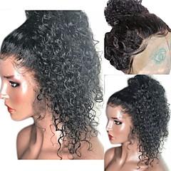 baratos Perucas Sintéticas-Perucas Lace Front Sintéticas Encaracolado / Kinky Curly Corte em Camadas Cabelo Sintético 16 polegada com o cabelo do bebê / Resistente ao Calor / Riscas Naturais Preta Peruca Mulheres Curto Frente