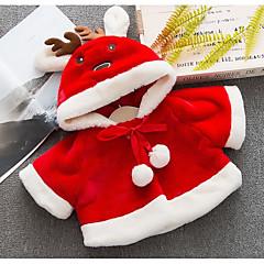 billige Overtøj til babyer-Baby Pige Basale Ensfarvet Langærmet Normal Bomuld / Polyester Jakke og frakke Rød 100