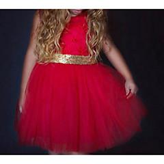 billige Babykjoler-Baby Pige Basale Daglig Ensfarvet Langærmet Normal Bomuld / Polyester Kjole Rød 100
