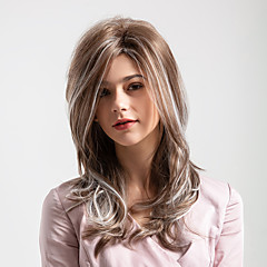 cheap Wigs & Hair Pieces-Synthetic Wig Women's Deep Wave Ombre Middle Part Synthetic Hair 20 inch Smooth / New Arrival / Ombre Hair Ombre Wig Mid Length Capless Brown / White MAYSU / Natural Hairline / Natural Hairline