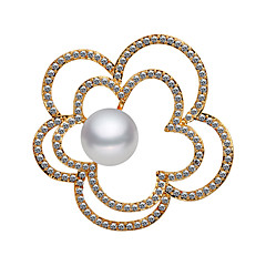 billige Motebrosjer-Dame Kubisk Zirkonium Nåler - Perle, Gullbelagt Blomst damer, Koreansk Brosje Smykker Gull Til Gate