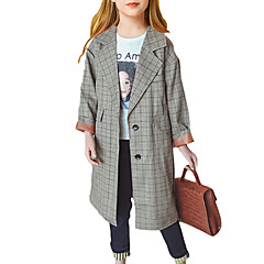 billige Jakker og frakker til piger-Børn Pige Ternet Langærmet Trenchcoat