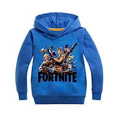 billige Hættetrøjer og sweatshirts til piger-Børn Pige Basale Ensfarvet / Trykt mønster Langærmet Bomuld Hættetrøje og sweatshirt