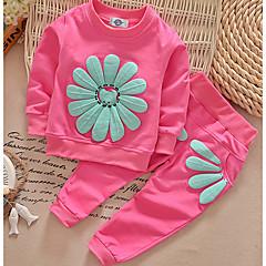 billige Sett med babyklær-Baby Pige Basale Daglig Ensfarvet Langærmet Normal Normal Bomuld / Polyester Tøjsæt Lyserød 100