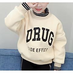 billige Hættetrøjer og sweatshirts til piger-Børn Pige Aktiv Daglig Ensfarvet / Geometrisk Trykt mønster Langærmet Normal Polyester Hættetrøje og sweatshirt Lyserød