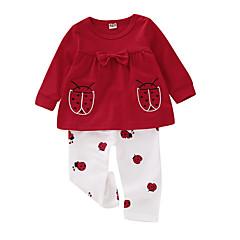 billige Sett med babyklær-Baby Pige Aktiv Daglig Trykt mønster Langærmet Normal Polyester Tøjsæt Rød 100