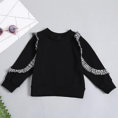 billige Hættetrøjer og sweatshirts til babyer-Baby Pige Ensfarvet / Stribet Langærmet Hættetrøje og sweatshirt