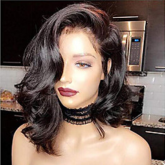 cheap Wigs & Hair Pieces-Human Hair Lace Front Wig Brazilian Hair Wavy Black Wig Bob Short Bob 130% Density with Baby Hair Natural Hairline For Black Women 100% Virgin Bleached Knots Black Women's Short Human Hair Lace Wig