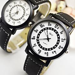 billiga Klockor-Par Armbandsur Quartz Vardaglig klocka Läder Band Analog-digital Mode Svart - Svart / Rostfritt stål