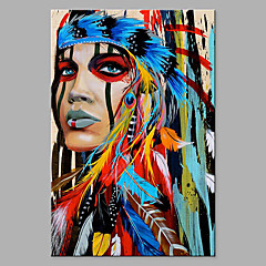 cheap Oil Paintings-Oil Painting Hand Painted - Abstract People Classic Modern Rolled Canvas