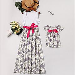 billige Sett med familieklær-Mamma og meg Grunnleggende Daglig Blomstret Ermeløs Asymmetrisk Polyester Kjole Hvit
