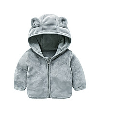 billige Overtøj til babyer-Baby Pige Basale Ensfarvet Langærmet Normal Bomuld / Polyester Jakke og frakke Lyserød 100