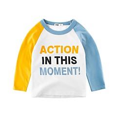 baratos Roupas de Meninos-Infantil Para Meninos Azul e Branco Estampado Manga Longa Camiseta