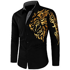 Men's Street chic Slim Shirt - Graphic / Long Sleeve