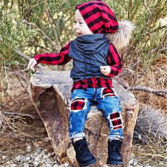 billige Tøjsæt til drenge-Børn / Baby Drenge Aktiv / Basale Daglig / Sport Ternet Patchwork Langærmet Normal Bomuld / Polyester / Spandex Tøjsæt Rød