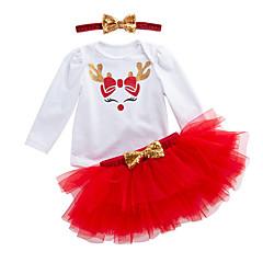 billige Sett med babyklær-Baby Pige Aktiv Daglig Trykt mønster Langærmet Normal Polyester Tøjsæt Grøn 59