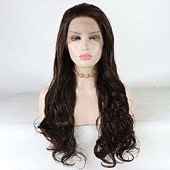 cheap Wigs & Hair Pieces-Synthetic Lace Front Wig Women's Loose Wave / Loose Curl Brown Free Part 180% Density Synthetic Hair 18-26 inch Heat Resistant / Synthetic / Best Quality Brown Wig Long Lace Front Brown / Doll Wig