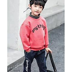 tanie Odzież dla chłopców-Dzieci Dla chłopców Podstawowy Codzienny Solidne kolory Długi rękaw Regularny Bawełna / Poliester Bluzka Brązowy