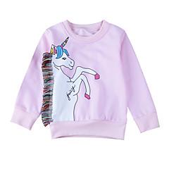 billige Hættetrøjer og sweatshirts til babyer-Baby Pige Basale Daglig Ensfarvet Langærmet Normal Bomuld Hættetrøje og sweatshirt Lyserød