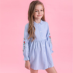 cheap Girls' Clothing-Kids Girls' Active / Sweet Daily / Going out Striped Embroidered Long Sleeve Cotton / Polyester Dress Blue
