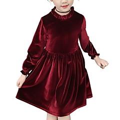 levne Dívčí oblečení-Děti Dívčí Základní Jednobarevné Dlouhý rukáv Šaty Světlá růžová