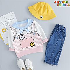 billige Tøjsæt til drenge-Baby Drenge Aktiv / Basale Daglig / I-byen-tøj Trykt mønster Langærmet Normal Normal Bomuld Tøjsæt Lyserød