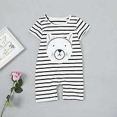 billige Babytøj-Baby Pige Basale / Gade Daglig Stribet / Trykt mønster Basale Halvlange ærmer Bomuld / Spandex En del Hvid