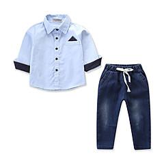billige Tøjsæt til drenge-Børn / Baby Drenge Aktiv / Basale Daglig / Ferie Farveblok Blondér / Patchwork Langærmet Normal Bomuld / Spandex Tøjsæt Blå