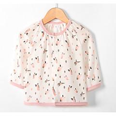 billige Babyoverdele-Baby Pige Aktiv Daglig Ensfarvet / Geometrisk Langærmet Normal Polyester Bluse Lysegrøn
