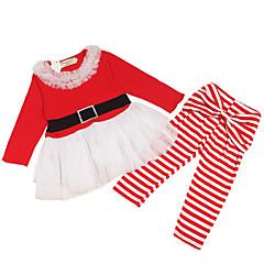 billige Sett med babyklær-Baby Pige Aktiv / Basale Jul / Ferie Ensfarvet Sløjfer / Net Langærmet Normal Bomuld / Spandex Tøjsæt Rød 80