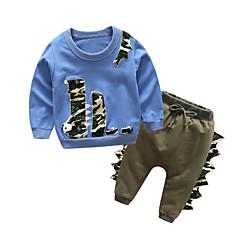 ieftine Haine Bebeluși Băieți-Bebelus Băieți De Bază Zilnic Mată Manșon Lung Regular Regular Bumbac / Poliester Set Îmbrăcăminte Albastru Deschis