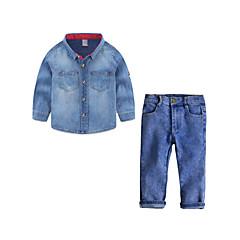 billige Tøjsæt til drenge-Børn / Baby Drenge Aktiv / Basale Daglig / I-byen-tøj Ensfarvet Patchwork Langærmet Normal Normal Bomuld / Polyester Tøjsæt Blå