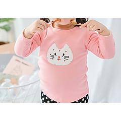 billige Pigetoppe-Baby Pige Aktiv Daglig Ensfarvet / Geometrisk Langærmet Normal Polyester T-shirt Lyserød