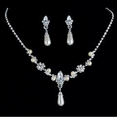 billige Smykke Sett-Dame Tenniskjede Smykkesett - Imitert Perle Dråpe Stilfull, Enkel, Europeisk Inkludere Brude smykker sett Sølv Til Daglig Stevnemøte