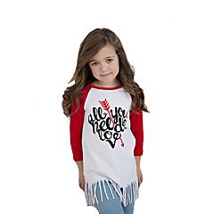 billige Pigetoppe-Børn / Baby Pige Aktiv / Basale Daglig / I-byen-tøj Trykt mønster Kvast Langærmet Lang Bomuld T-shirt Hvid