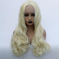billiga Peruker och hårförlängning-Syntetiska snörning framifrån Dam Vågigt Blond Middle Part Syntetiskt hår 22-26 tum Mjuk / Värmetåligt / Dam Blond Peruk Lång Limfria / Spetsfront Blekt Blont