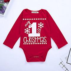 billige Babytøj-Baby Pige Gade Daglig Trykt mønster Langærmet Polyester Bodysuit Rød