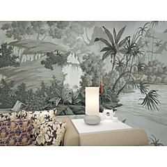 billige Tapet-bakgrunns / Veggmaleri Lerret Tapetsering - selvklebende nødvendig Maleri / Trær / Blader / 3D