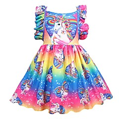 cheap Girls' Dresses-Kids Girls' Active Holiday Patchwork Pleated Sleeveless Knee-length Polyester Dress Rainbow