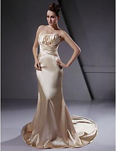 billiga Brudklänningar-Trumpet / sjöjungfru Axelbandslös Hovsläp Stretchig satäng Bröllopsklänningar tillverkade med Draperad / Korsvis av LAN TING BRIDE® / Brudklänning i färg