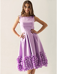 billige Lilla lidenskap-A-linje Prinsesse Bateau Neck Knelang Sateng Brudepikekjole med Drapert av LAN TING BRIDE®