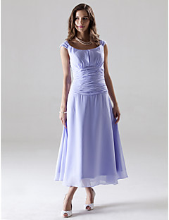 Linha A Princesa Longuette Chiffon Vestido de Madrinha com Franzido de LAN TING BRIDE®
