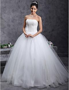 billige Brudekjoler UK-Ballkjole Stroppeløs Gulvlang Tyll Egendefinerte brudekjoler med Perlearbeid Blomst av LAN TING BRIDE®