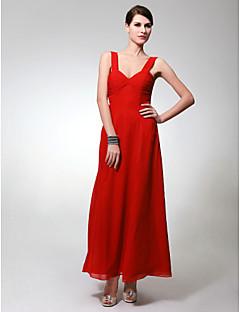 Χαμηλού Κόστους Μακριά Φορέματα Παρανύμφων-Ίσια Γραμμή Λουριά Μέχρι τον αστράγαλο Σιφόν Φόρεμα Παρανύμφων με Πιασίματα με LAN TING BRIDE®