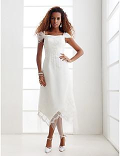billiga Åtsmitande brudklänningar-Åtsmitande Off shoulder Asymmetrisk Tyll Bröllopsklänningar tillverkade med Bård / Broderad / Spets av LAN TING BRIDE®