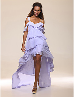 cheap Celebrity Dresses-A-Line Spaghetti Straps Asymmetrical Chiffon Cocktail Party Prom Dress with Side Draping Ruffles by TS Couture®